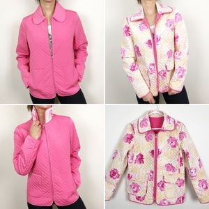 Esprit quilted reversible jacket; floral and pink